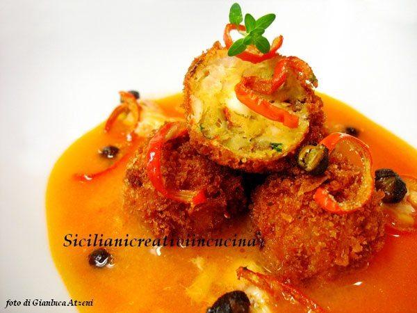 Minestra-di-gallinella,-crocchette-di-pesce-con-melanzana-rossa-e-ceci-fritti
