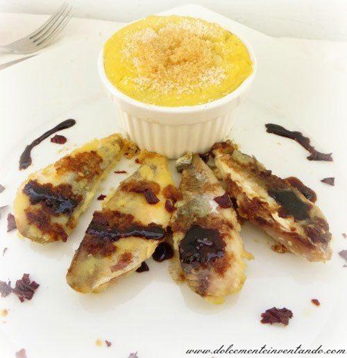 Scaloppine-di-gallinella-caramellate-al-ficotto-e-flan-di-patate-ripieno-di-crema-di-melanzane-rosse-di-Rotonda