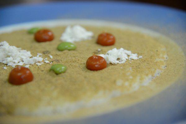 Risotto Acquerello alla bufala, burro formaggio di mozzarella fatto in casa, polvere di melanzane, pomodoro del piennolo, ricotta salata, salsa al p