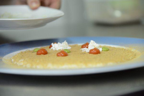 Risotto Acquerello alla bufala, burro formaggio di mozzarella fatto in casa, polvere di melanzane, pomodoro del piennolo, ricotta salata, salsa al p[1]
