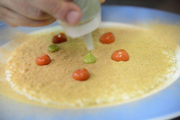 Risotto Acquerello alla bufala, burro formaggio di mozzarella fatto in casa, polvere di melanzane, pomodoro del piennolo, ricotta salata, salsa al p[4]