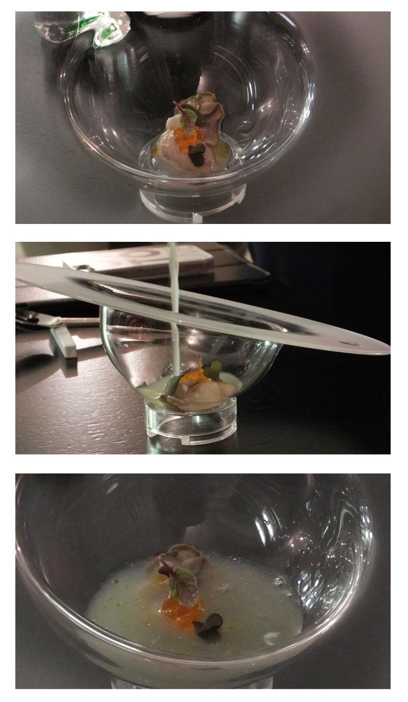 """Ostrica Regal Irlandese con caviale di peperoncino, romice rosso, shiso, lemon fizz e shakerato di mela verde e Vodka """"Ciroc"""""""