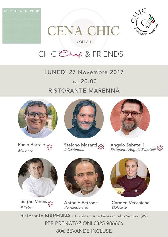 27 novembre Marennà cena Chic chef and Friends
