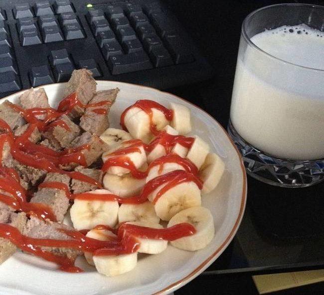 senza parole banana ketchup